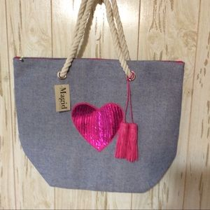 Large Magid Sequin Heart Tote